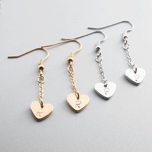 Hand stamped Lovely Cute Heart long Earring, Ear Pierce/16k Gold White Gold Plated/Gift for Her GIrl Wedding Mothers day Mother Daughter