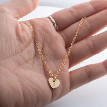 Load image into Gallery viewer, Hand stamped Personalized Lovely Dainty Initial Heart Necklace/16k Gold Plated/Gifts for Her Wedding Bridesmaids Mothers day Mother Daughter