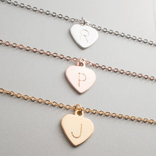 Load image into Gallery viewer, Hand Stamped Heart Initial Anklet/Gold Silver Rose Gold Plated/Personalized Charm/Gift for Birthday Bridesmaid Mothers day Mother Daughter