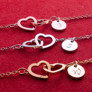 Personalized Two Hearts Anklet Initial with Hand stamped Coin / Gold, Silver, Rose Gold Plated