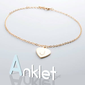 Hand Stamped Heart Initial Anklet/Gold Silver Rose Gold Plated/Personalized Charm/Gift for Birthday Bridesmaid Mothers day Mother Daughter