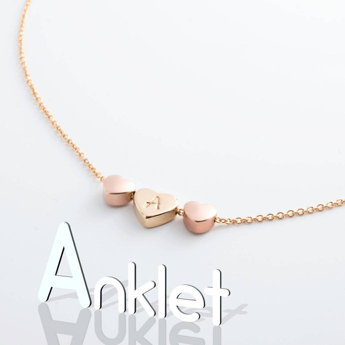Hand Stamped Initial Anklet with Unique Triple Hearts