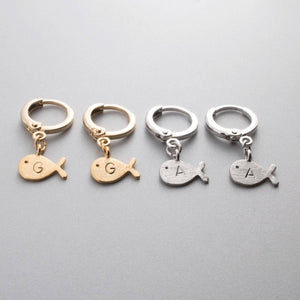 Hand stamped Customized Cute Fish Earring