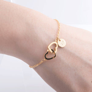 Personalized Two Hearts Bracelet Initial with Hand stamped Coin / Gold, Silver, Rose Gold Plated