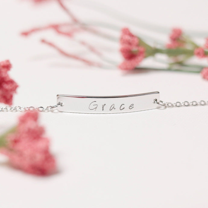 Name Bar Bracelet/Hand Stamped Gold, Silver, Rose Gold Plated/Custom Jewelry Gift for Birthday Bridesmaids Mothers day Mother Daughter