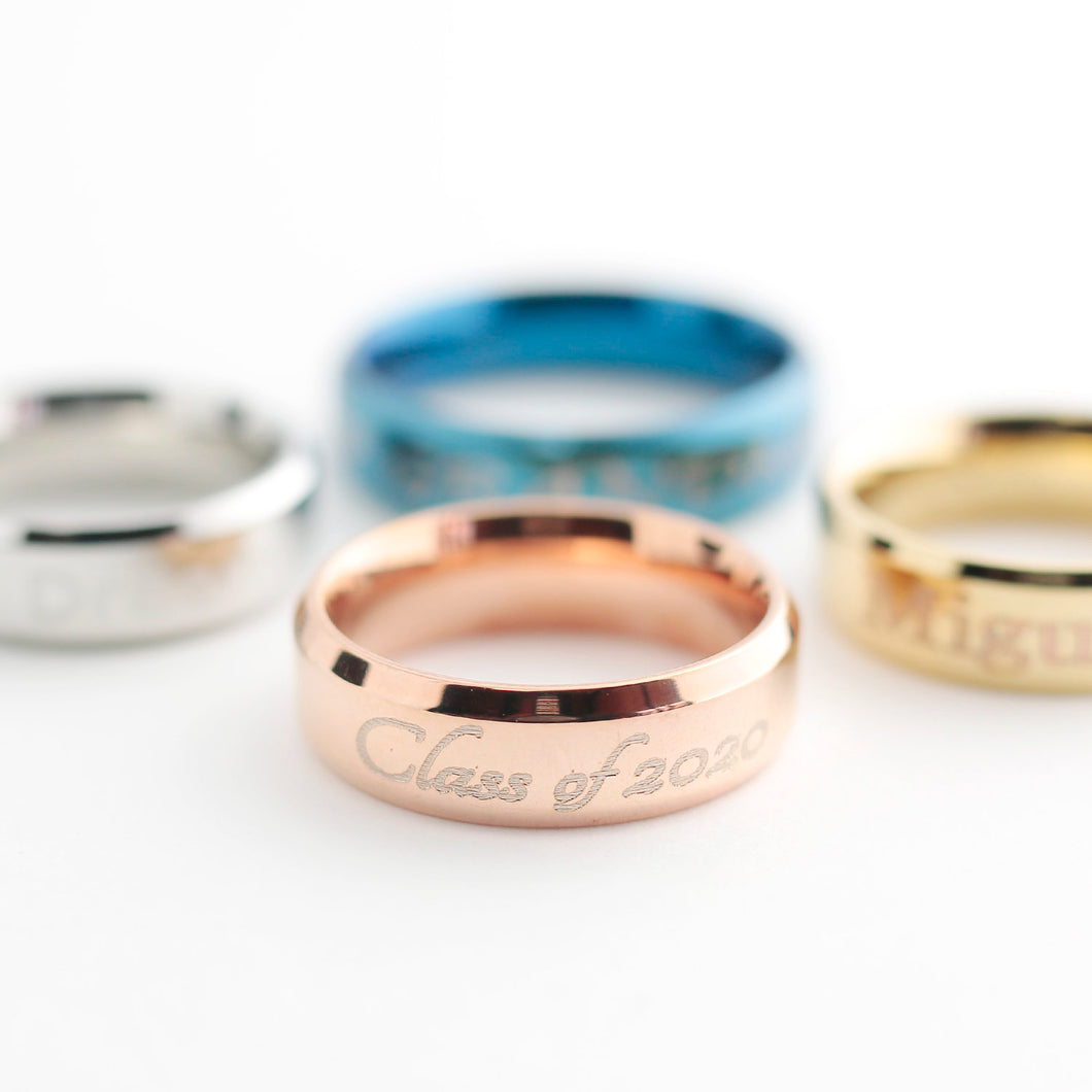 Personalized name Ring/Gold Silver Rose Gold Blue Black/Size 5 - 12