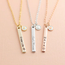 Load image into Gallery viewer, Personalized Vertical Name Bar Necklace with Heart Coin / Gold, Silver, Rose Gold Plated