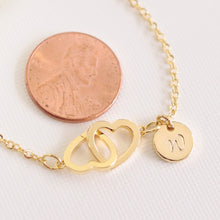 Load image into Gallery viewer, Personalized Initial Bracelet Two Hearts Bracelet/Hand stamped 16k Gold Plated/Dainty/Gifts for her Bridesmaids Mothers day Mother Daughter