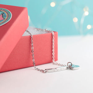 Personalized Name bar heart initial Anklet
