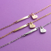 Load image into Gallery viewer, Personalized Name bar heart initial Anklet