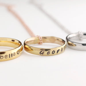 Hand stamped Personalized Name Ring Necklace/Gold Silver Rose Gold Plated/Couple Ring/Ink Filled Ring/gift for Mothers day Mother Daughter