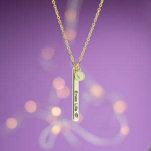 Personalized Vertical Name Bar Necklace with Heart Coin / Gold, Silver, Rose Gold Plated