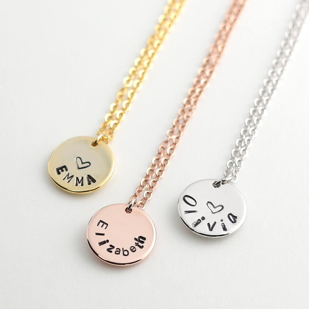Hand stamped Cute coin disc Name Necklace/16k Gold Plated/Ink Filled Charm/Gifts for Her Girl Friend Bridesmaids Mothers day Mother Daughter