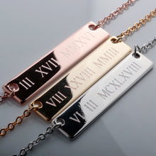 Load image into Gallery viewer, Customize your own Large Roman Numerals Bar Necklace/16k Gold plated/multi occasions gift for Bridesmaid Wedding Mothers day Mother Daughter