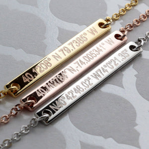 Coordinates on Slim Bar Necklace/16k Gold Silver Rose Gold plated/multi occasions Gift for Bridesmaid Wedding Mothers day Mother Daughter