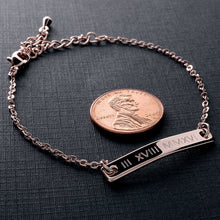 Load image into Gallery viewer, Roman Numeral on Perfect Bar Bracelet