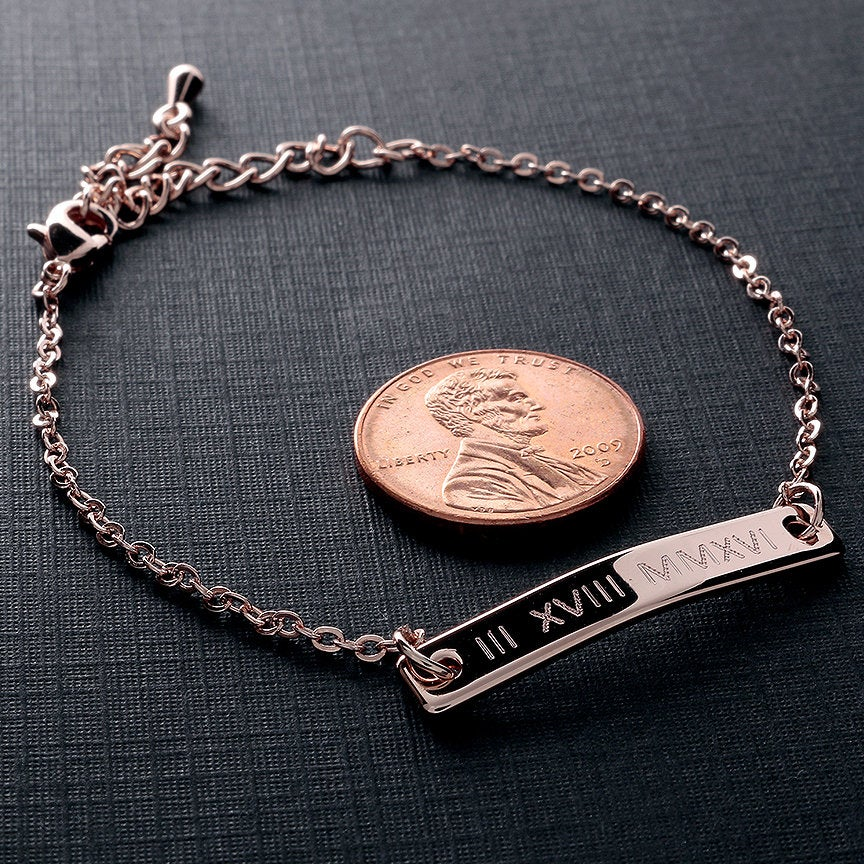 Roman Numeral on Perfect Bar Bracelet