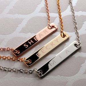Personalized Name Bar Necklace 16k Gold Silver Rose Gold plated