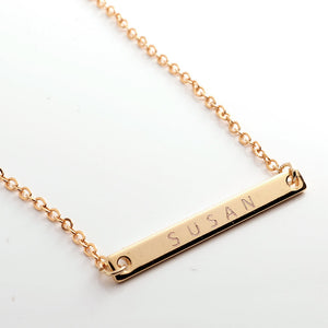 Engrave your name on Slim Bar Necklace 16k Gold Silver Rose Gold plated/occasion gift for Bridesmaid Wedding Mothers day Mother Daughter mom