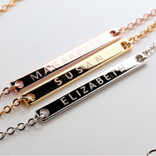 Load image into Gallery viewer, Engrave your name on Slim Bar Necklace 16k Gold Silver Rose Gold plated/occasion gift for Bridesmaid Wedding Mothers day Mother Daughter mom