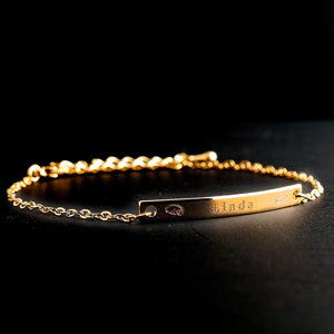 Engrave your name on Slim Bar Bracelet/16k Gold plated/multi occasions gift for her Bridesmaid Wedding Mothers day Mother Daughter Girl