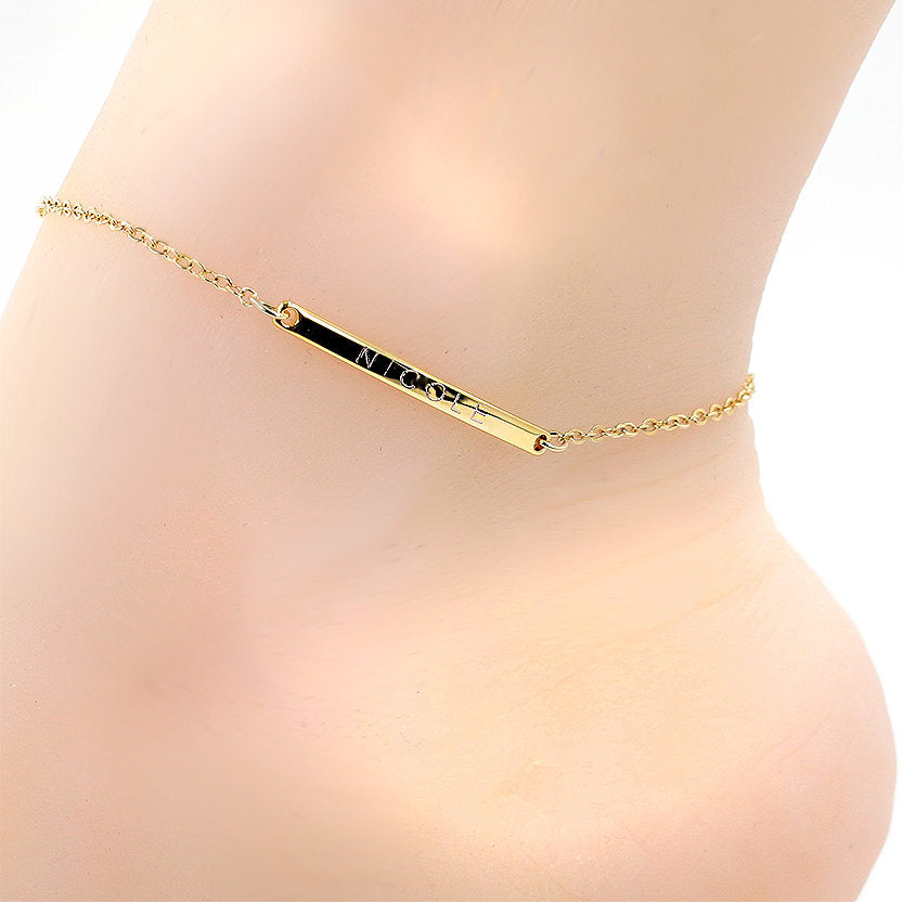 Engrave your name on Slim Bar Anklet 16k Gold Silver Rose Gold plated/multi occasion gift for Bridesmaid Wedding Mothers day Mother Daughter