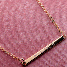 Load image into Gallery viewer, Engrave your name on Super Slim Bar Necklace 16k Gold Silver plated/multi occasions gift for Bridesmaid Wedding Mothers day Mother Daughter
