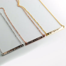 Load image into Gallery viewer, Coordinates on Slim Bar Necklace/16k Gold Silver Rose Gold plated/multi occasions Gift for Bridesmaid Wedding Mothers day Mother Daughter