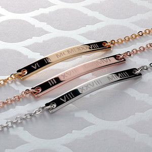 Engrave Roman Numerals on Slim Bar Bracelet 16k Gold plated/multi occasions gift for Bridesmaid Wedding Mothers day Mother Daughter mom
