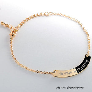 Coordinates on Curved Bar Bracelet/16k Gold Silver Rose Gold plated/multi occasions Gifts for Bridesmaid Wedding Mothers day Mother Daughter