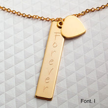 Load image into Gallery viewer, Customized Your Name Long Large Bar Necklace/16k Gold Plated/Gift for Her Girl Wedding Birthday Bridesmaid Mothers day Mother Daughter Mom