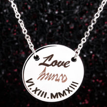 Load image into Gallery viewer, BTS Love=army fan necklace, Silver Plated 2 tone blacked engraving for great fan gift