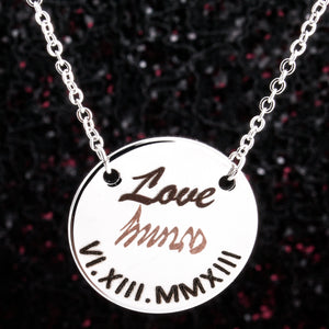 BTS Love=army fan necklace, Silver Plated 2 tone blacked engraving for great fan gift
