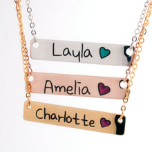 Load image into Gallery viewer, Customized Color Heart Name Bar Necklace/16k Gold Rose Gold Silver Plated