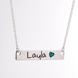 Customized Color Heart Name Bar Necklace/16k Gold Rose Gold Silver Plated