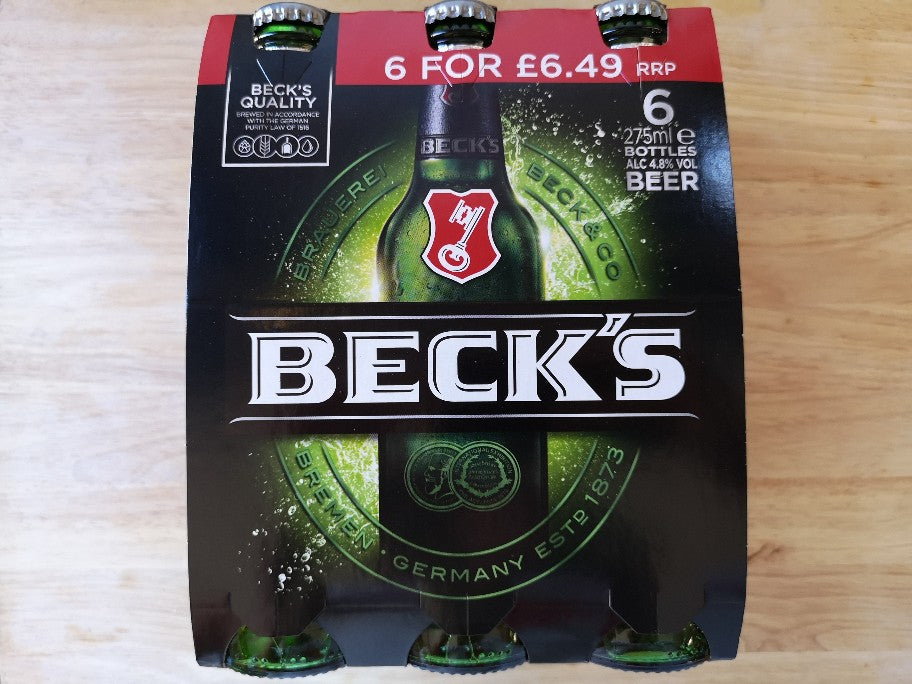 Becks Beer 6 x 275ml Bottles