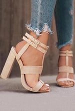 Load image into Gallery viewer, Solid Buckle Strap Heeled Sandals In Stock