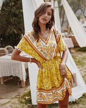Load image into Gallery viewer, Women Summer Boho Print Short Beach Dress