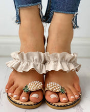 Load image into Gallery viewer, Pineapple Pattern Toe Ring Frill Hem Casual Sandals