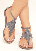Load image into Gallery viewer, Solid Hollow Out Ankle Strap Flat Sandals