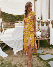 Load image into Gallery viewer, V-neck Bohemian Floral Dress