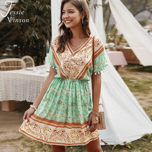 Women Summer Boho Print Short Beach Dress