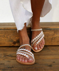 Women's Shoes - Summer Sandals Flat Sandals Solid Color Lace Open Toe Wedding