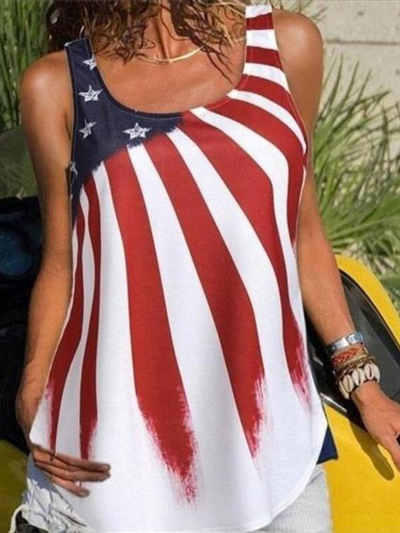 Summer American Flag Independence Day Sleeveless Printed Vest