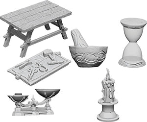 WizKids Deep Cuts Unpainted Miniatures: W5 Workbench & Tools