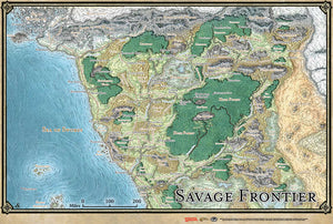 Dungeons and Dragons RPG: Forgotten Realms - Savage Frontier Map (31in x 21in)