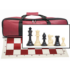 Tournament Chess Set with Burgundy Bag – 3.75 Inch King Solid Plastic