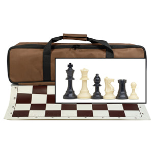 Tournament Chess Set with Brown Bag – 3.75 Inch King Solid Plastic