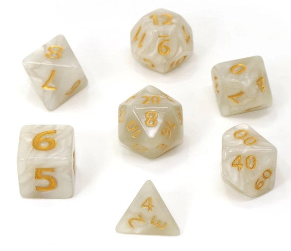 RPG Set - Mega Dice - Pearl Swirl w/ Gold