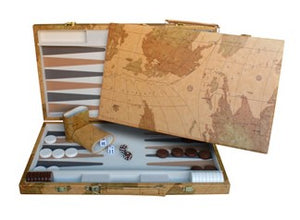Map Design Backgammon Set – 18 Inch with Screen Printed Points